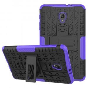Противоударный двухкомпонентный силиконовый матовый непрозрачный чехол с нескользящими гранями и поликарбонатными вставками экстрим защиты с встроенной ножкой-подставкой для Samsung Galaxy Tab A 8.0 (2017)