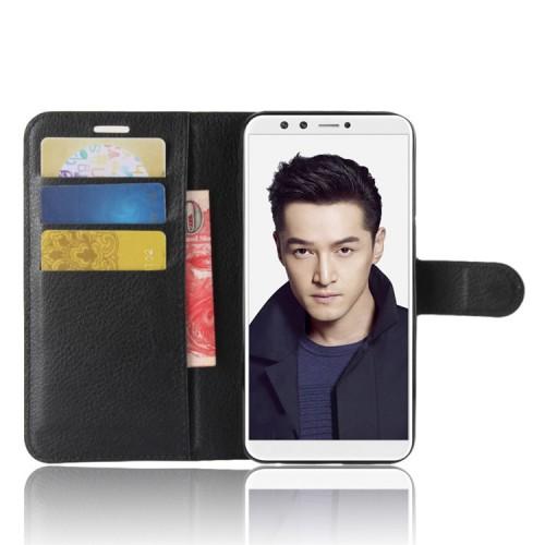 Чехол портмоне подставка на силиконовой основе с отсеком для карт на магнитной защелке для Huawei Honor 9 Lite Черный