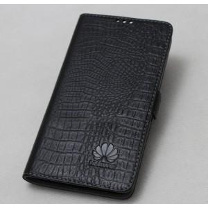 Кожаный чехол горизонтальная книжка подставка текстура Крокодил с магнитной застежкой для Huawei Honor 9 Lite