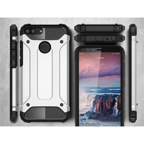 Противоударный двухкомпонентный силиконовый матовый непрозрачный чехол с нескользящими гранями и поликарбонатными вставками экстрим защиты для Huawei Honor 9 Lite Бежевый