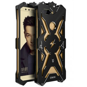 Цельнометаллический противоударный чехол из авиационного алюминия на винтах с мягкой внутренней защитной прослойкой для гаджета с прямым доступом к разъемам для Huawei Honor 9 Lite