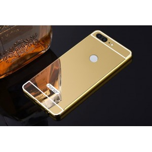 Двухкомпонентный чехол c металлическим бампером с поликарбонатной накладкой и зеркальным покрытием для Huawei Honor 9 Lite