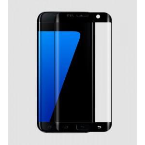 На плоскую и изогнутые поверхности экрана ультратонкое износоустойчивое сколостойкое олеофобное защитное стекло-пленка для Samsung Galaxy S7 Edge Черный