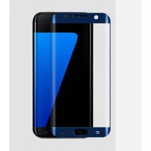 На плоскую и изогнутые поверхности экрана ультратонкое износоустойчивое сколостойкое олеофобное защитное стекло-пленка для Samsung Galaxy S7 Edge Синий