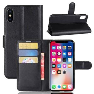 Чехол портмоне подставка на силиконовой основе с отсеком для карт на магнитной защелке для Iphone X 10/XS Черный