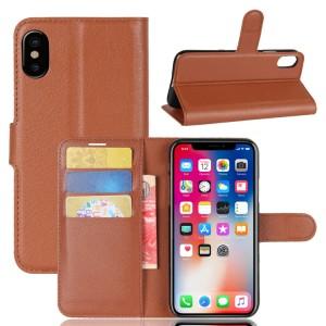 Чехол портмоне подставка на силиконовой основе с отсеком для карт на магнитной защелке для Iphone X 10/XS Коричневый