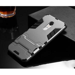 Противоударный двухкомпонентный силиконовый матовый непрозрачный чехол с нескользящими гранями и поликарбонатными вставками экстрим защиты с встроенной ножкой-подставкой для Xiaomi RedMi Note 4X