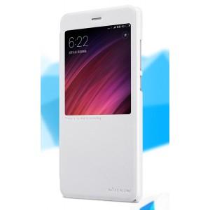 Чехол горизонтальная книжка на пластиковой нескользящей премиум основе с окном вызова для Xiaomi RedMi Note 4X Белый