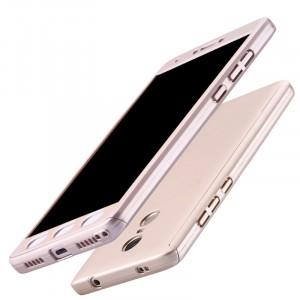 Пластиковый непрозрачный матовый чехол сборного типа с улучшенной защитой элементов корпуса для Xiaomi RedMi Note 4X Бежевый