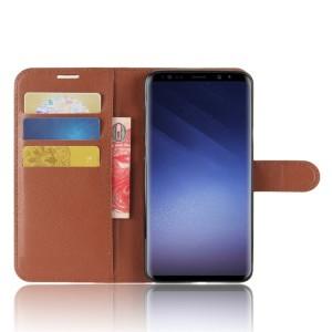Чехол портмоне подставка на силиконовой основе с отсеком для карт на магнитной защелке для Samsung Galaxy S9 Plus Коричневый