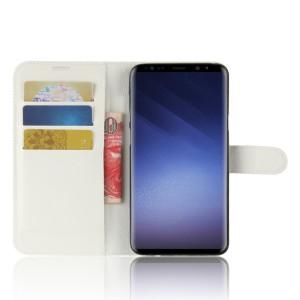 Чехол портмоне подставка на силиконовой основе с отсеком для карт на магнитной защелке для Samsung Galaxy S9 Plus Белый