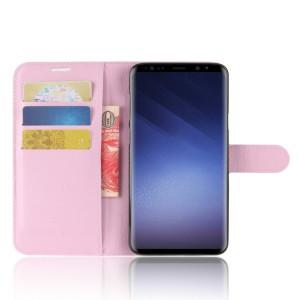 Чехол портмоне подставка на силиконовой основе с отсеком для карт на магнитной защелке для Samsung Galaxy S9 Plus Розовый