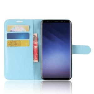 Чехол портмоне подставка на силиконовой основе с отсеком для карт на магнитной защелке для Samsung Galaxy S9 Plus Голубой