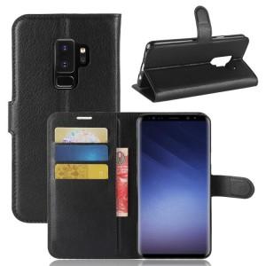 Чехол портмоне подставка на силиконовой основе с отсеком для карт на магнитной защелке для Samsung Galaxy S9 Plus Черный
