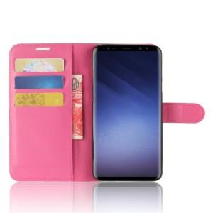 Чехол портмоне подставка на силиконовой основе с отсеком для карт на магнитной защелке для Samsung Galaxy S9 Plus Пурпурный