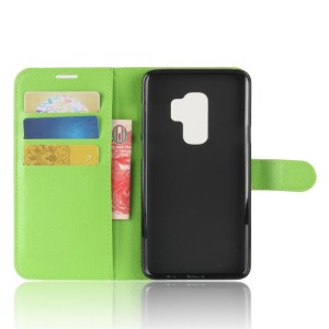 Чехол портмоне подставка на силиконовой основе с отсеком для карт на магнитной защелке для Samsung Galaxy S9 Plus Зеленый