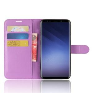 Чехол портмоне подставка на силиконовой основе с отсеком для карт на магнитной защелке для Samsung Galaxy S9 Plus Фиолетовый