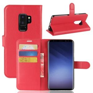 Чехол портмоне подставка на силиконовой основе с отсеком для карт на магнитной защелке для Samsung Galaxy S9 Plus Красный