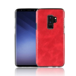 Силиконовый глянцевый непрозрачный чехол с текстурным покрытием Кожа для Samsung Galaxy S9 Plus  Красный