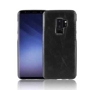 Силиконовый глянцевый непрозрачный чехол с текстурным покрытием Кожа для Samsung Galaxy S9 Plus  Черный