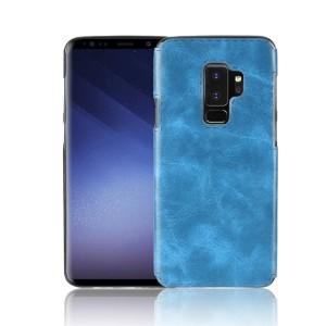 Силиконовый глянцевый непрозрачный чехол с текстурным покрытием Кожа для Samsung Galaxy S9 Plus  Синий