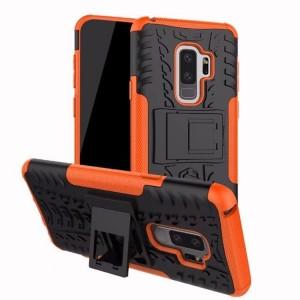 Противоударный двухкомпонентный силиконовый матовый непрозрачный чехол с нескользящими гранями и поликарбонатными вставками экстрим защиты с встроенной ножкой-подставкой для Samsung Galaxy S9 Plus Оранжевый