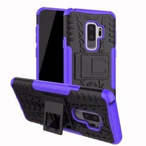 Противоударный двухкомпонентный силиконовый матовый непрозрачный чехол с нескользящими гранями и поликарбонатными вставками экстрим защиты с встроенной ножкой-подставкой для Samsung Galaxy S9 Plus Фиолетовый