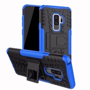 Противоударный двухкомпонентный силиконовый матовый непрозрачный чехол с нескользящими гранями и поликарбонатными вставками экстрим защиты с встроенной ножкой-подставкой для Samsung Galaxy S9 Plus Голубой