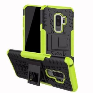 Противоударный двухкомпонентный силиконовый матовый непрозрачный чехол с нескользящими гранями и поликарбонатными вставками экстрим защиты с встроенной ножкой-подставкой для Samsung Galaxy S9 Plus