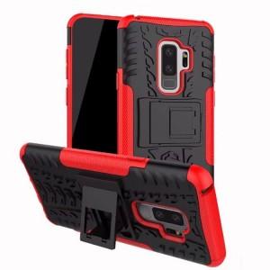 Противоударный двухкомпонентный силиконовый матовый непрозрачный чехол с нескользящими гранями и поликарбонатными вставками экстрим защиты с встроенной ножкой-подставкой для Samsung Galaxy S9 Plus Красный