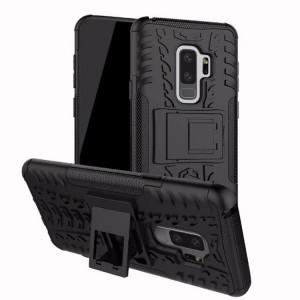 Противоударный двухкомпонентный силиконовый матовый непрозрачный чехол с нескользящими гранями и поликарбонатными вставками экстрим защиты с встроенной ножкой-подставкой для Samsung Galaxy S9 Plus Черный