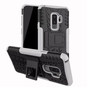 Противоударный двухкомпонентный силиконовый матовый непрозрачный чехол с нескользящими гранями и поликарбонатными вставками экстрим защиты с встроенной ножкой-подставкой для Samsung Galaxy S9 Plus Белый