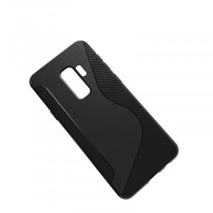 Силиконовый матовый непрозрачный дизайнерский фигурный чехол с нескользящими гранями и текстурой S для Samsung Galaxy S9 Plus  Черный