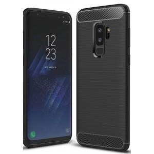 Силиконовый матовый непрозрачный чехол с нескользящими гранями, улучшенной защитой торцов и текстурным покрытием Металлик для Samsung Galaxy S9 Plus Черный