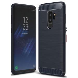 Силиконовый матовый непрозрачный чехол с нескользящими гранями, улучшенной защитой торцов и текстурным покрытием Металлик для Samsung Galaxy S9 Plus Синий