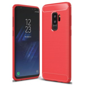 Силиконовый матовый непрозрачный чехол с нескользящими гранями, улучшенной защитой торцов и текстурным покрытием Металлик для Samsung Galaxy S9 Plus Красный