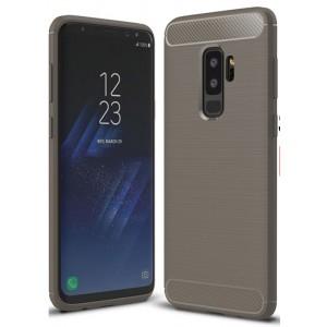 Силиконовый матовый непрозрачный чехол с нескользящими гранями, улучшенной защитой торцов и текстурным покрытием Металлик для Samsung Galaxy S9 Plus Серый