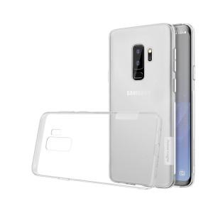 Силиконовый глянцевый полупрозрачный премиум чехол с улучшеной защитой и нескользящими гранями для Samsung Galaxy S9 Plus Белый