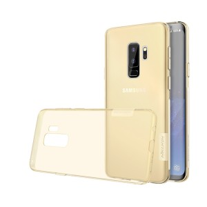 Силиконовый глянцевый полупрозрачный премиум чехол с улучшеной защитой и нескользящими гранями для Samsung Galaxy S9 Plus Бежевый