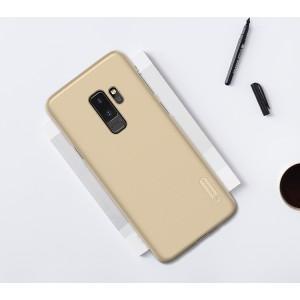 Пластиковый непрозрачный матовый нескользящий премиум чехол с повышенной шероховатостью для Samsung Galaxy S9 Plus Бежевый