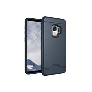 Противоударный двухкомпонентный силиконовый матовый непрозрачный чехол с поликарбонатными вставками экстрим защиты с встроенной ножкой-подставкой c отсеком для карты для Samsung Galaxy S9 Plus Синий