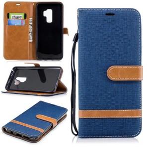 Чехол портмоне подставка на силиконовой основе с отсеком для карт и тканевым покрытием на магнитной защелке для Samsung Galaxy S9 Plus Синий