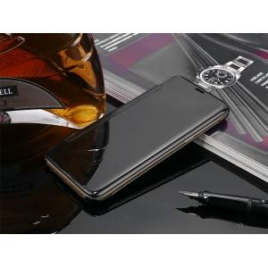 Пластиковый непрозрачный чехол с полупрозрачной крышкой с зеркальным покрытием для Samsung Galaxy S9 Plus  Черный