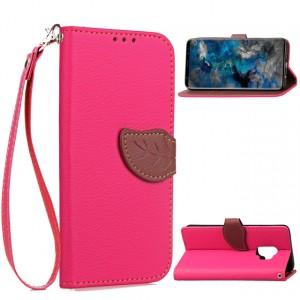 Чехол портмоне подставка на силиконовой основе с отсеком для карт на дизайнерской магнитной защелке для Samsung Galaxy S9 Plus  Розовый
