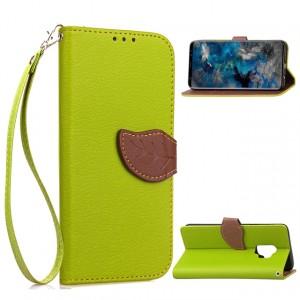 Чехол портмоне подставка на силиконовой основе с отсеком для карт на дизайнерской магнитной защелке для Samsung Galaxy S9 Plus  Зеленый