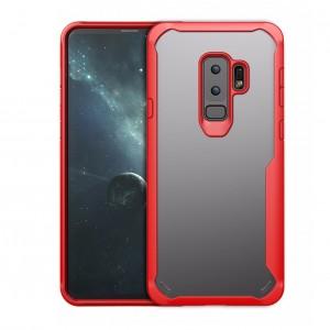 Силиконовый матовый полупрозрачный чехол с улучшенной защитой торцов для Samsung Galaxy S9 Plus Красный