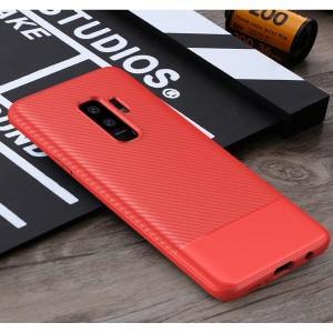 Силиконовый матовый непрозрачный чехол с текстурным покрытием Карбон для Samsung Galaxy S9 Plus Красный