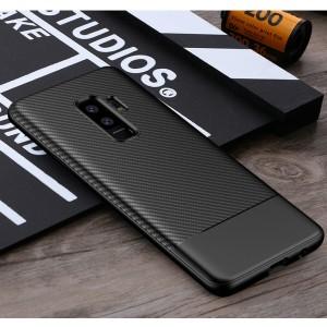 Силиконовый матовый непрозрачный чехол с текстурным покрытием Карбон для Samsung Galaxy S9 Plus