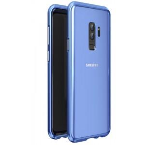 Металлический округлый бампер сборного типа на винтах для Samsung Galaxy S9 Plus Синий