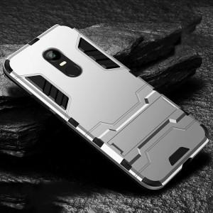 Противоударный двухкомпонентный силиконовый матовый непрозрачный чехол с поликарбонатными вставками экстрим защиты с встроенной ножкой-подставкой для Xiaomi RedMi 5 Plus
